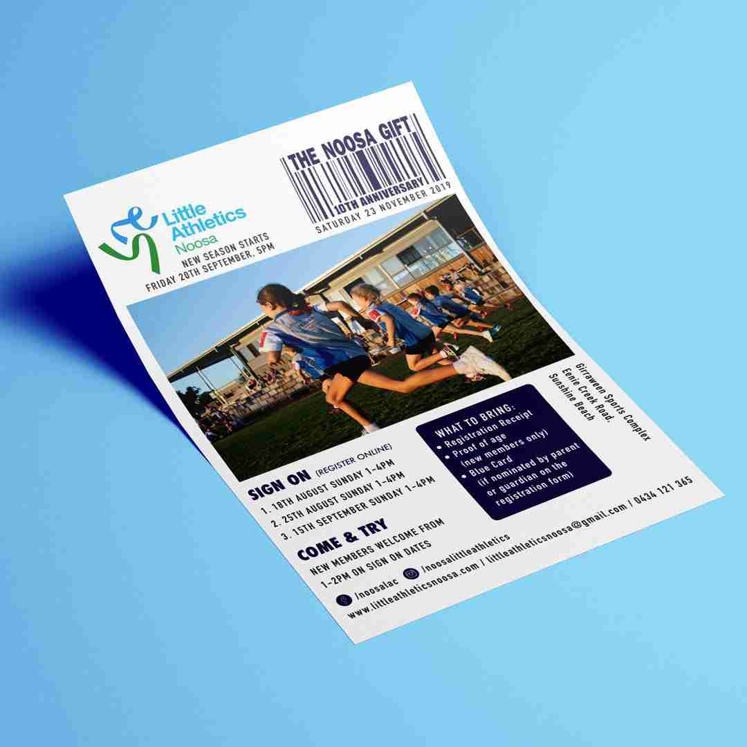 Noosa Little Athletics flyer design mockup