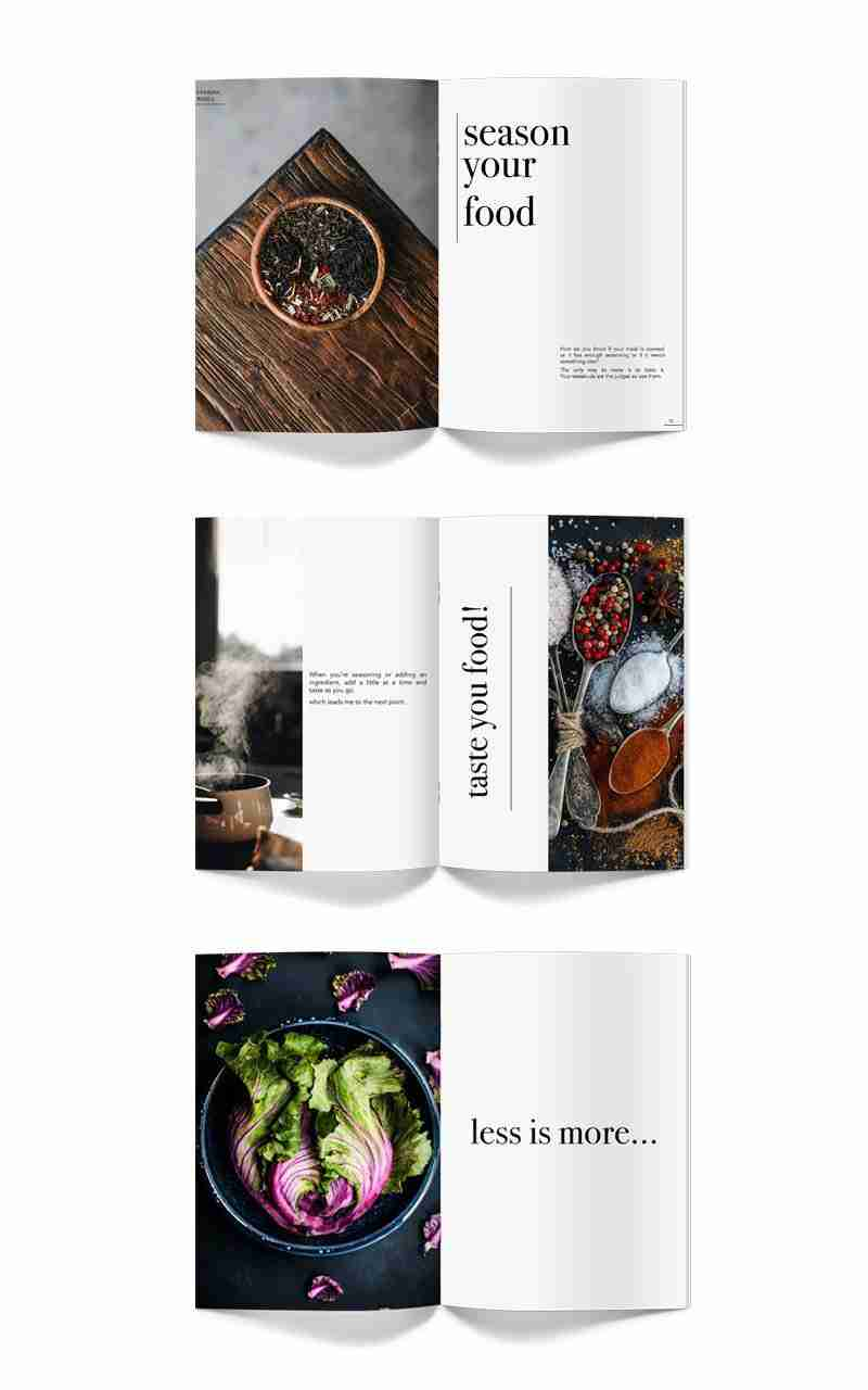 Mockup cookbook layout design