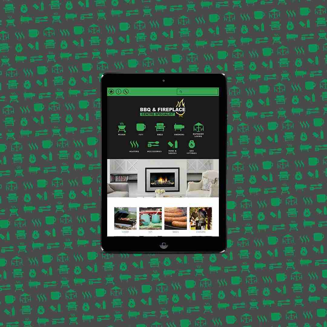 BBQ & Fireplace website mockup for tablet